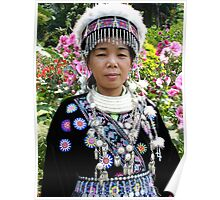 Woman in her Traditional Akha Hill Tribe Costume Poster