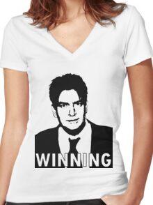 """Charlie Sheen """"Winning"""" 2 Women's Fitted V-Neck T-Shirt"""