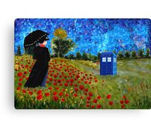 Umbrella girl with space and time traveller box art painting Canvas Print