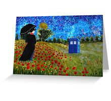 Umbrella girl with space and time traveller box art painting Greeting Card