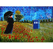 Umbrella girl with space and time traveller box art painting Photographic Print