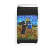 Umbrella girl with space and time traveller box art painting Duvet Cover