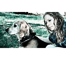 Dog and master Photographic Print