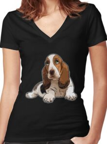 Basset Hound Women's Fitted V-Neck T-Shirt