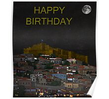Molyvos By Night  Lesvos Greece  Happy Birthday Poster