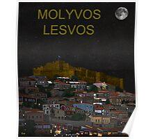 Molyvos By Night  Molyvos Lesvos Greece   Poster