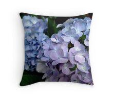 Hydrangeas, Blue and Lavender Throw Pillow