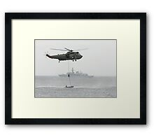 Absail from helicopter Framed Print