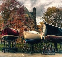 Wintering Boats in Baddeck Cape Breton Island Nova Scotia Canada by Shawna Mac