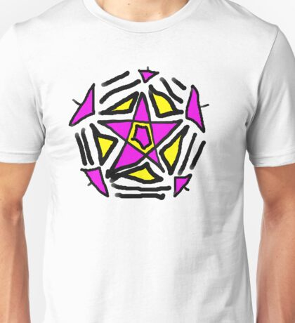 Crazy Pink and Yellow Star Unisex T-Shirt