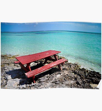 Picnic Table's Vacation - Coco Cay, Bahamas Poster