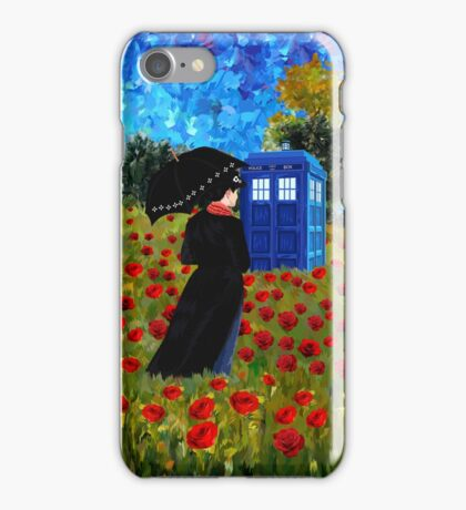 Umbrella girl with space and time traveller box art painting iPhone Case/Skin