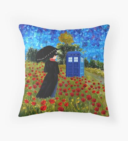 Umbrella girl with space and time traveller box art painting Throw Pillow