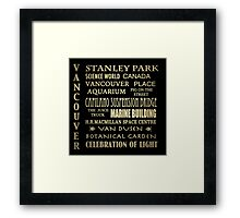 Vancouver Canada Famous Landmarks Framed Print