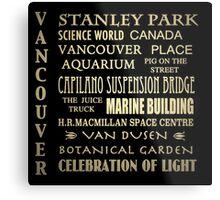Vancouver Canada Famous Landmarks Metal Print
