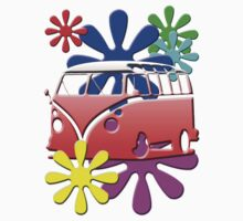 VW BUS with hippie flowers RED version Kids Tee