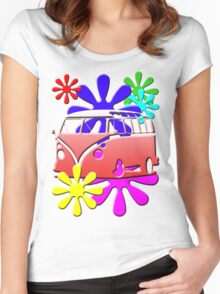 VW BUS with hippie flowers RED version Women's Fitted Scoop T-Shirt