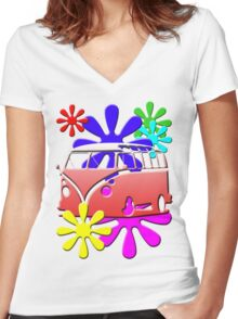 VW BUS with hippie flowers RED version Women's Fitted V-Neck T-Shirt