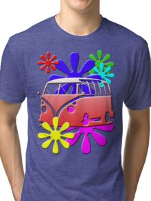 VW BUS with hippie flowers RED version Tri-blend T-Shirt