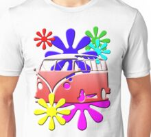 VW BUS with hippie flowers RED version Unisex T-Shirt