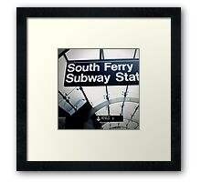 South Ferry Subway Framed Print