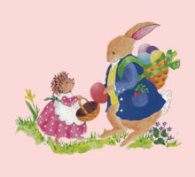 Easter Rabbit and Heddy hedgehog by paintpaintdraw