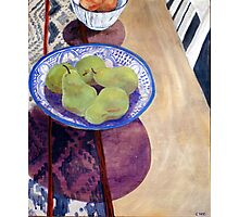 Pears in Blue Bowl Photographic Print