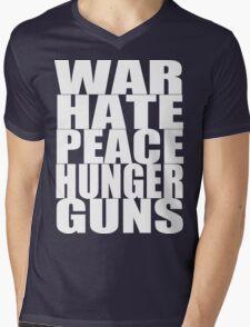 WAR HATE PEACE HUNGER GUNS (White) Mens V-Neck T-Shirt