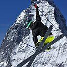 ski jumper and Matterhorn by neil harrison