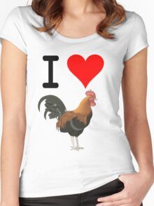 I Love Cock Women's Fitted Scoop T-Shirt