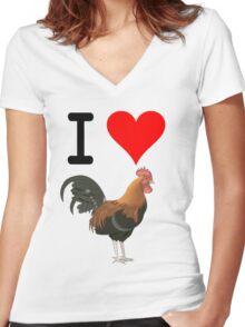 I Love Cock Women's Fitted V-Neck T-Shirt
