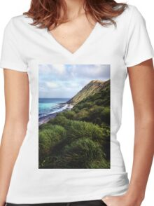 Coastal View, Maquarie Island Women's Fitted V-Neck T-Shirt