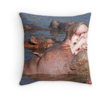 Unhappy Hippo, Serengeti National Park, Tanzania Throw Pillow