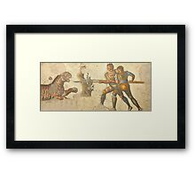 Legionaries fighting a tiger Framed Print