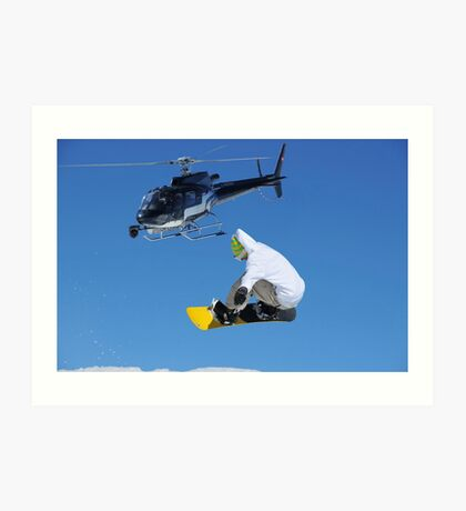 helicopter and snowboarder Art Print