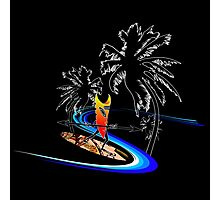 Tiki Surfer Palms Photographic Print