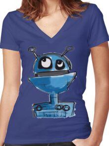Blue Robot Women's Fitted V-Neck T-Shirt