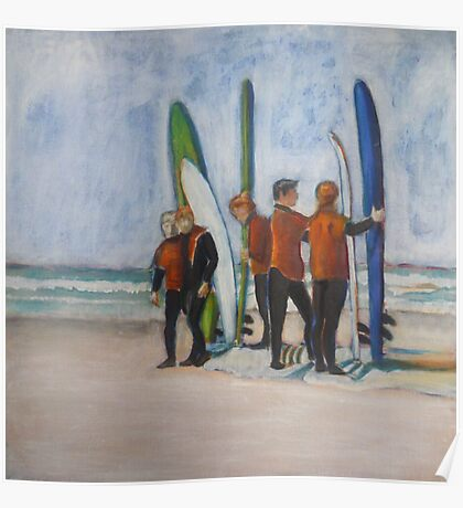 Surfers in Tofino, mixed media on canvas Poster