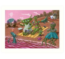 alien beach vacation Art Print
