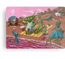 alien beach vacation Metal Print