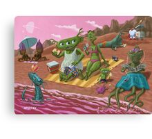 alien beach vacation Canvas Print