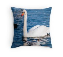 White swan in the water Throw Pillow