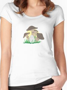 bird and mushrooms Women's Fitted Scoop T-Shirt