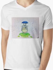 Totoro Under His Umbrella Mens V-Neck T-Shirt