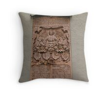 A Religous Plaque on the outside wall of St Peter's church. Throw Pillow