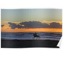 Horseback riding at sunset Poster