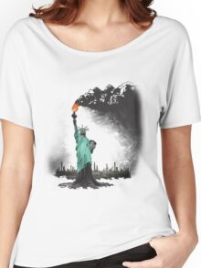 surreal rendered American liberty statue illustration: LIBERTY OIL Women's Relaxed Fit T-Shirt