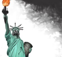 surreal rendered American liberty statue illustration: LIBERTY OIL Sticker