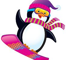 Cute Penguin Snowboarding by RodSavely