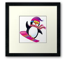 Cute Penguin Snowboarding Framed Print